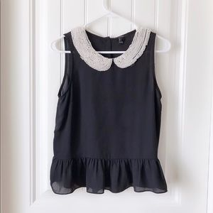 Forever 21 Black Top With Pearl Collar